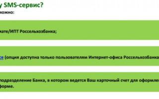 СМС сервис по счету Россельхозбанк как отключить