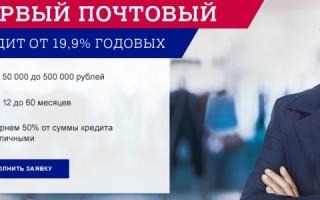 Условия кредита в Почта банке первый раз